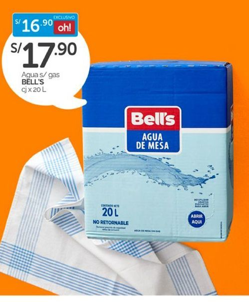 Oferta de Agua Bell's por S/ 17,9