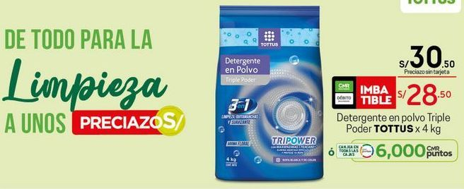 Oferta de Detergente en polvo Tottus por S/ 28,5