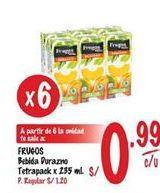 Oferta de Jugo de frutas Frugos por S/ 0,99