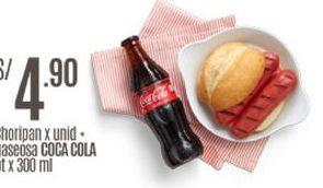 Oferta de Choripan + coca cola por S/ 4,9